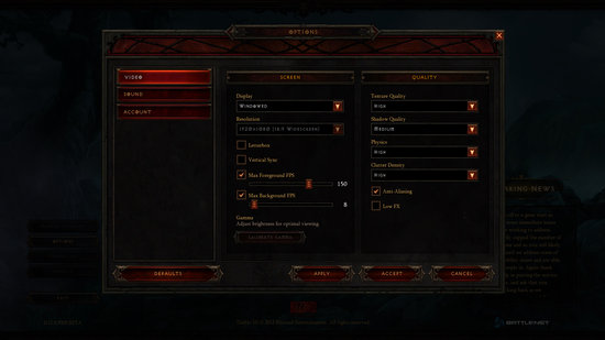 Diablo 3 Options Menu